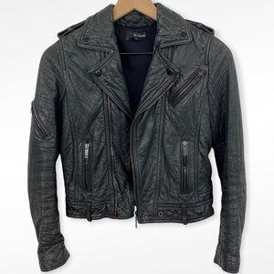 The Kooples Black Lamb Leather Moto Biker Jacket